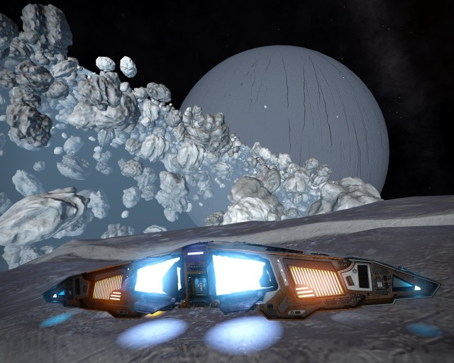Landed on an asteroid in an ice ring.