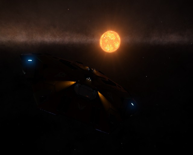 A giant S Type star, from 3000 light seconds away. Most stars in game would be a dot at that distance.