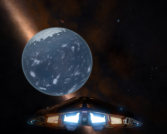 The companion water world, with the Earth-like world visible in the distance.
